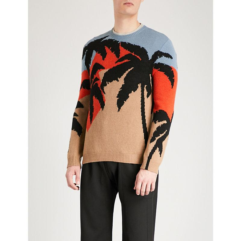 Valentino Palm Tree Intarsia Wool And Cashmere-Blend Jumper In Multicolour