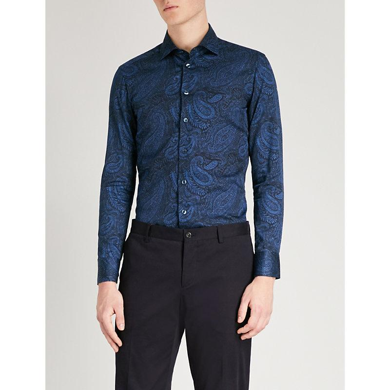 Etro Paisley-print Tailored-fit Cotton-poplin Shirt In Blue