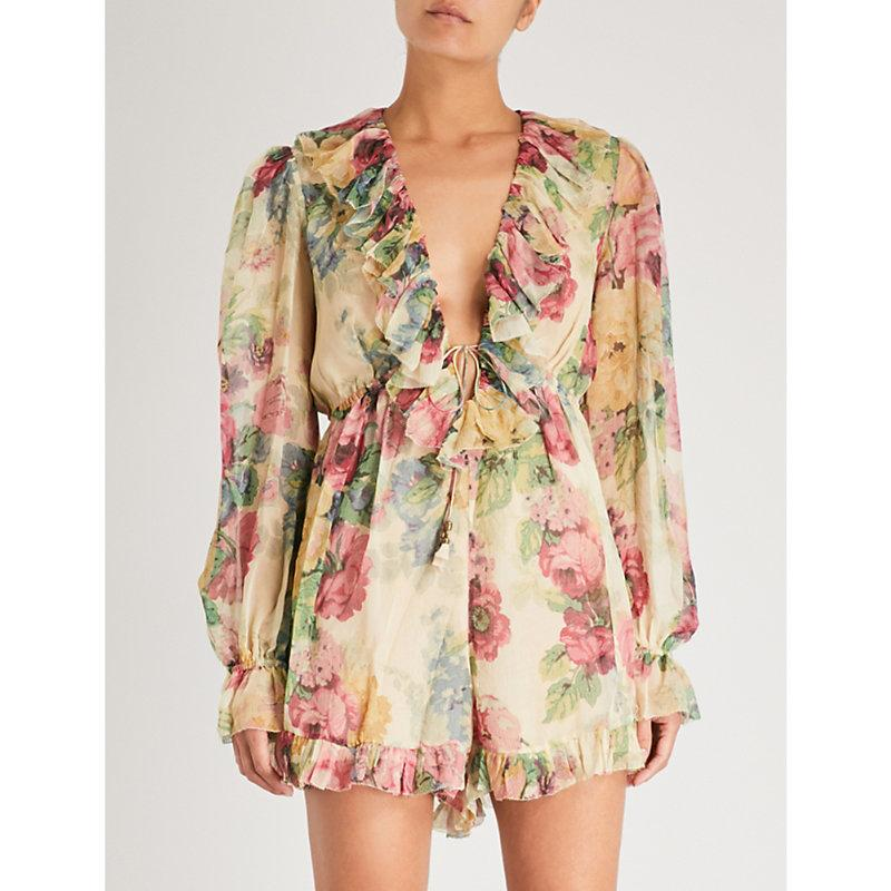 d7933eecd7 Zimmermann Melody Floating Ruffled Floral-Print Silk-Crepon Playsuit In  Beige Multi