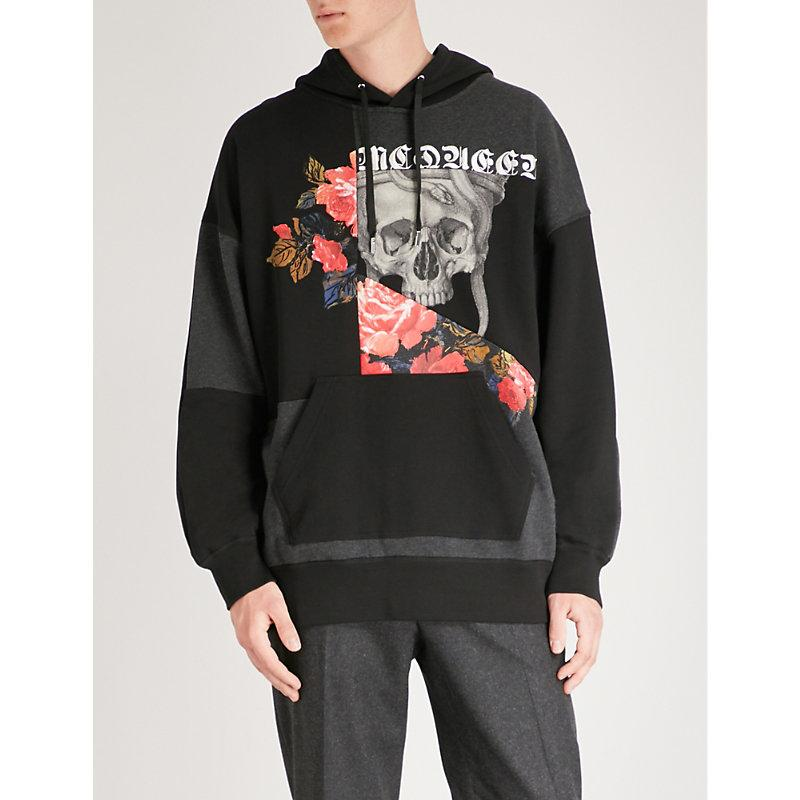 Alexander Mcqueen Patch Floral-print Cotton-jersey Hoody In Black