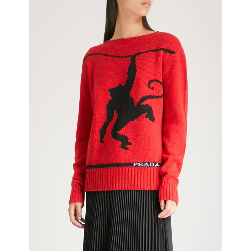 Prada 猴子 Intarsia 羊毛 和 开司米-混合 跨接器 In Red