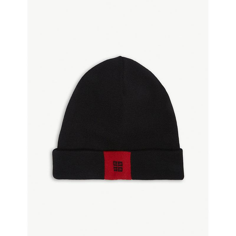 6d702ba289c Givenchy 4G Wool Beanie - Black In Black Red