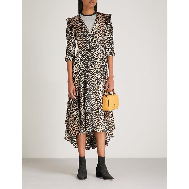 6201ca015e34 Ganni Calla Leopard-Print Stretch-Silk Wrap Dress In Nude   Neutrals ...