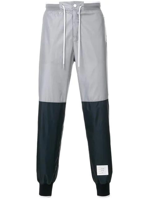 Thom Browne Bicolor Half-and-half Ripstop Sweatpants In Grey