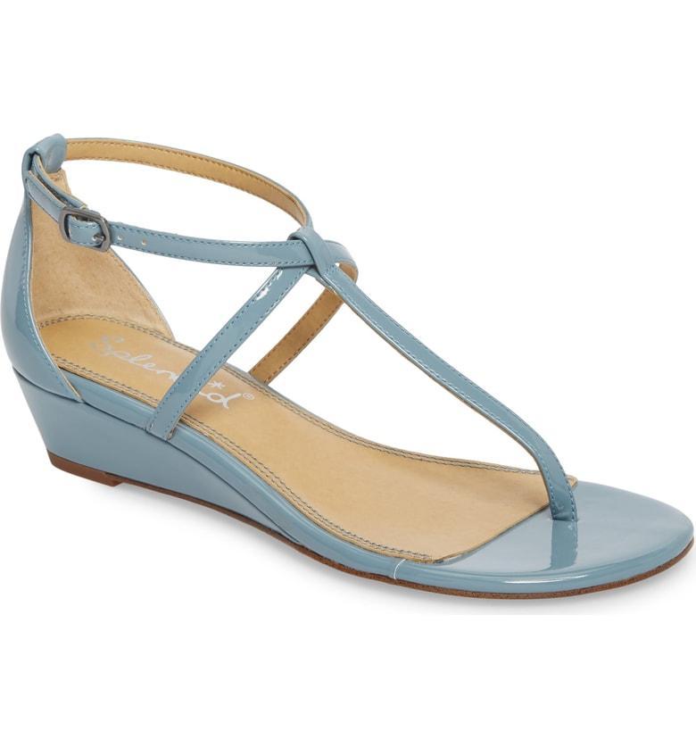 bb176a3c64 Splendid Brooklyn V-Strap Wedge Sandal In Shadow Blue Patent   ModeSens