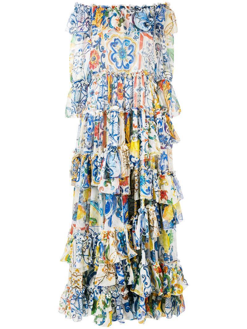 Dolce & Gabbana Majolica Print Chiffon Gown In Blue