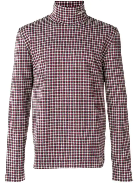 Calvin Klein 205w39nyc Logo Checked Polo Neck In Red