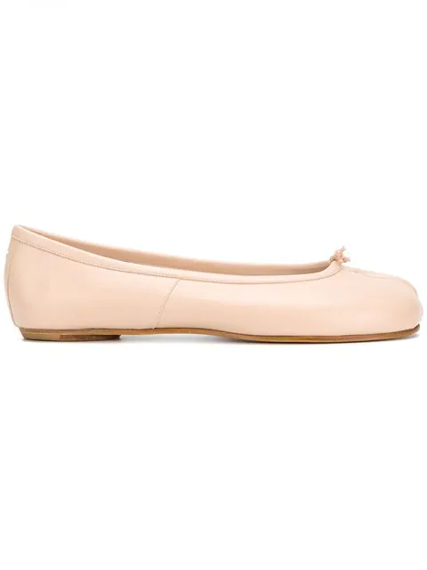 Maison Margiela 10mm Tabi Leather Ballerina Flats In Neutrals