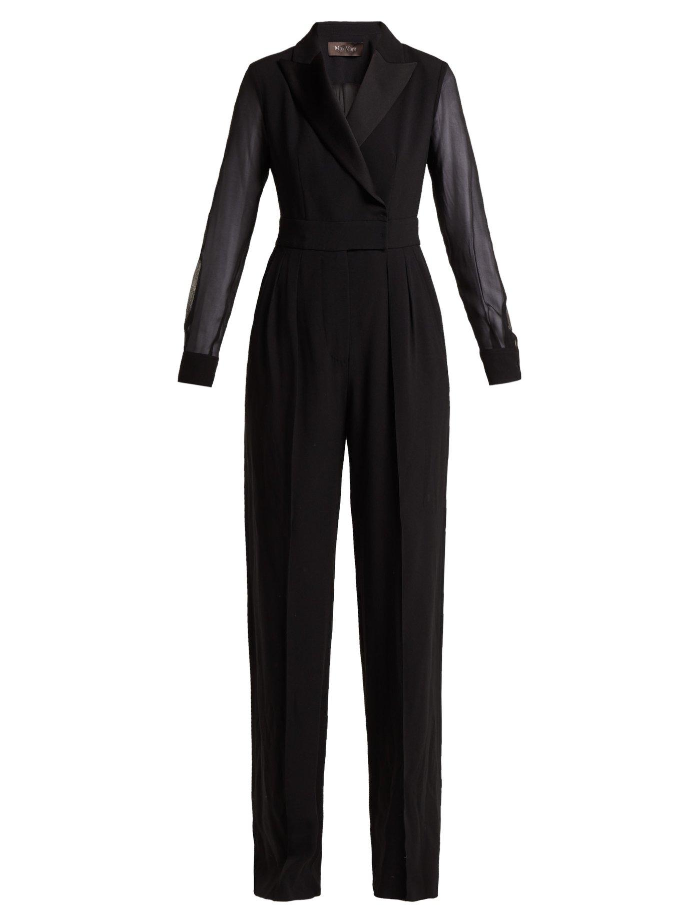 50b25285ee6 Max Mara Silk Chiffon-Paneled Crepe Jumpsuit In Black