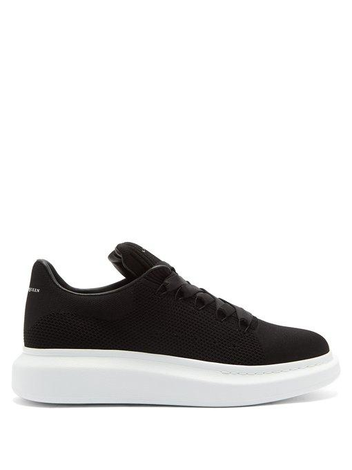 Alexander Mcqueen Exaggerated Sole Knitted Trainers In 1000 Black
