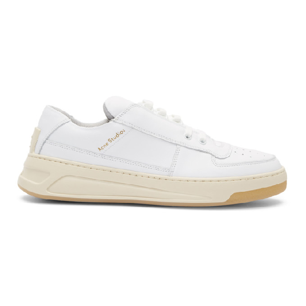 Acne Studios Perey Low-Top Velcro-Strap Leather Trainers In White