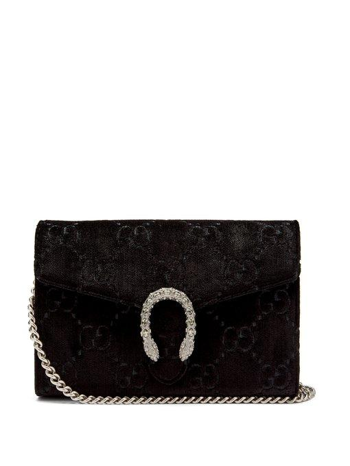 8fc82956812 Gucci Dionysus Gg Velvet Mini Chain Wallet In Black