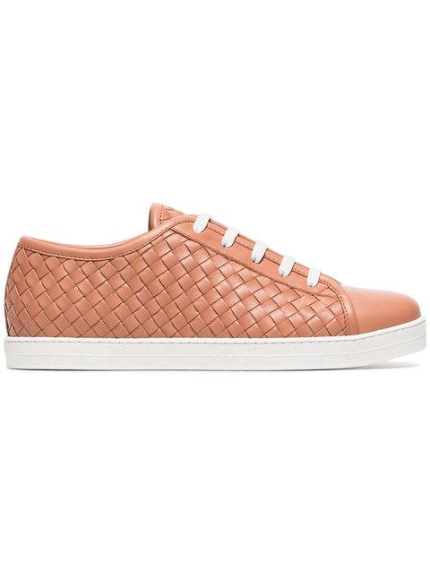 Bottega Veneta 编织皮革运动鞋 In Pink