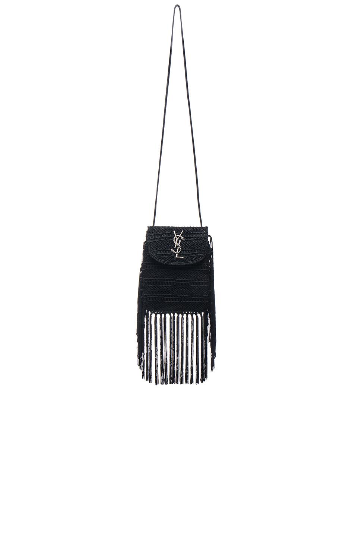 155ee878a4 Saint Laurent Anita Fringe Crochet Leather Small Crossbody Bag ...