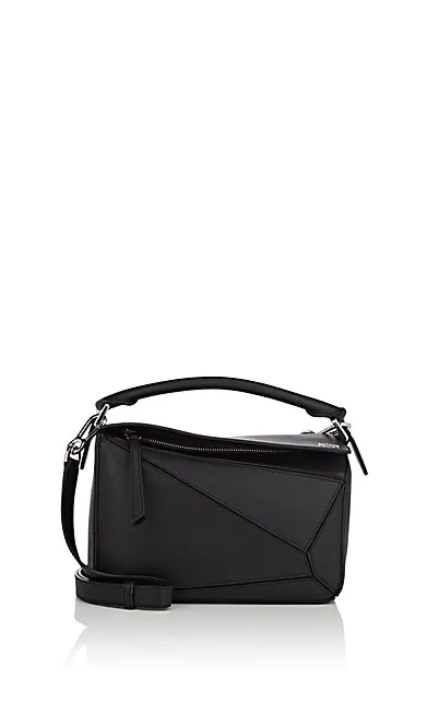 Loewe Puzzle Small Textured-Leather Shoulder Bag In Black