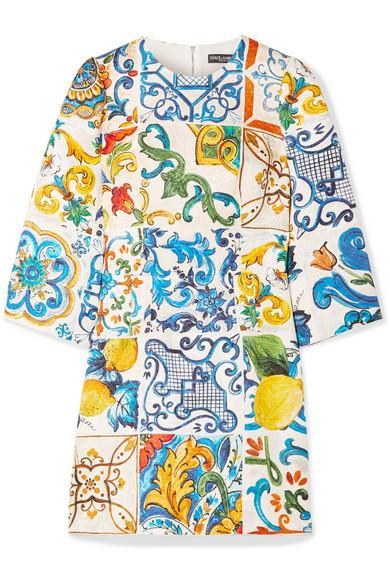 Dolce & Gabbana Printed Cotton And Silk-blend Brocade Mini Dress In Blue