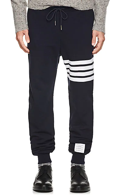 Thom Browne Men's 4 Bar Jersey Track Pants In Navy