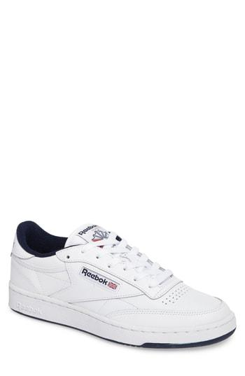 05b4111f79978 Reebok Club C 85 Archive White Leather Sneaker With Blue Details ...