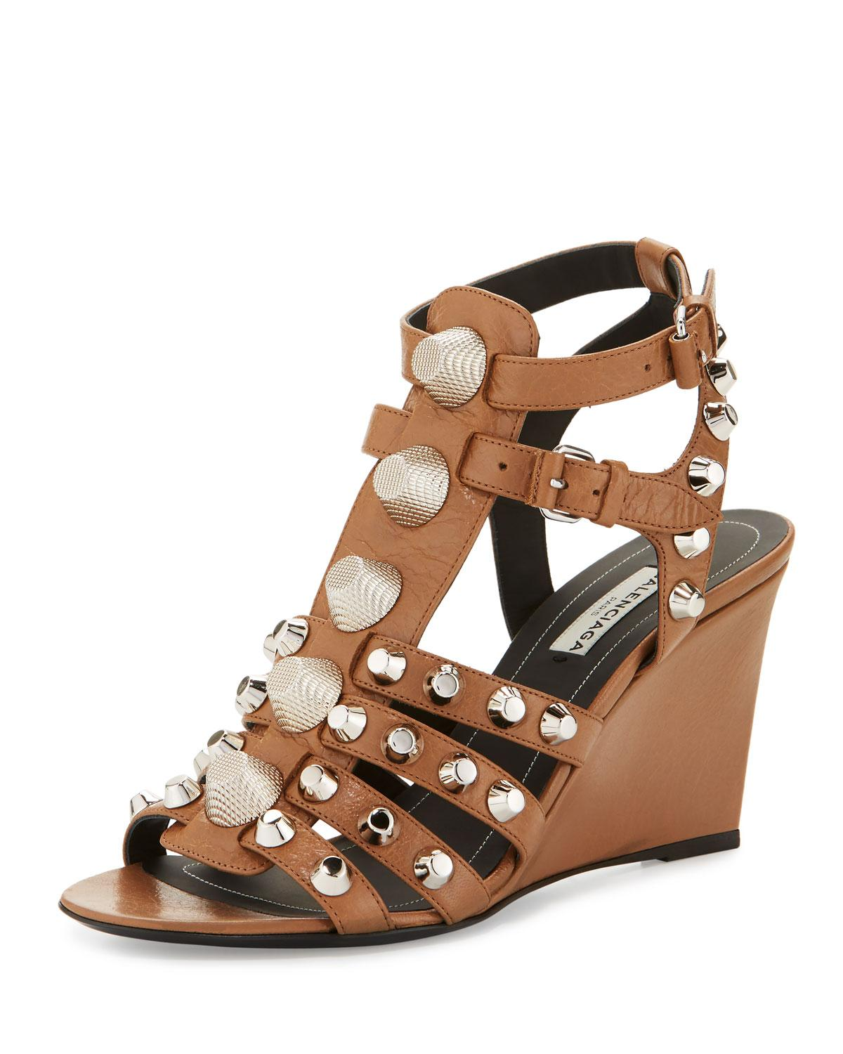 Balenciaga Studded Caged Wedge Sandal In Marron Glace