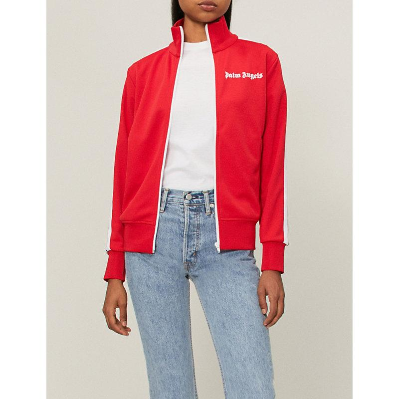 Palm Angels Classic Logo-embroidered Woven Jacket In Red