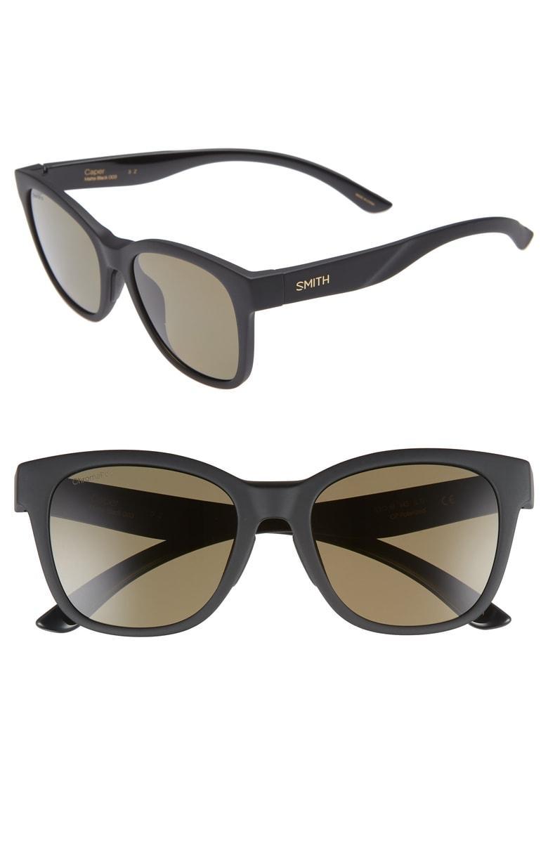 Smith Caper 53mm Chromapop(tm) Polarized Square Sunglasses In Matte Black