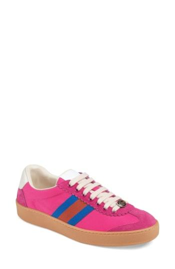 37e3841c6643 Gucci G74 Nylon Sneaker With Web In Pink