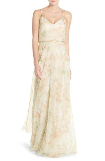 a0ad318f07a5 Jenny Yoo Inesse V-Neck Chiffon Gown In Blush Multi | ModeSens