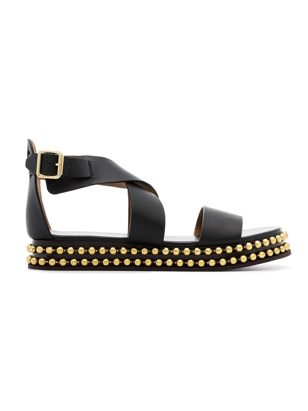 9a556a9ce55b ChloÉ Women S Sawyer Studded Leather Platform Sandals In 001 Black ...