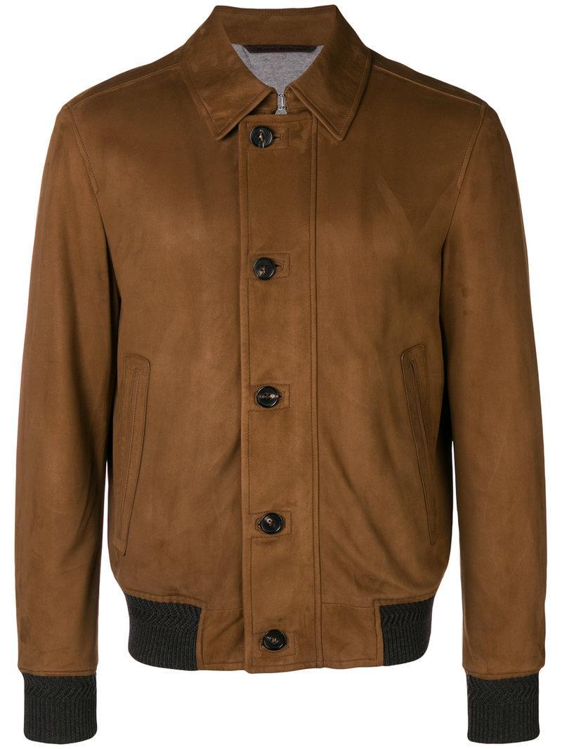 3fc9e570e27 Ermenegildo Zegna Bomber Jacket In Brown Suede Leather