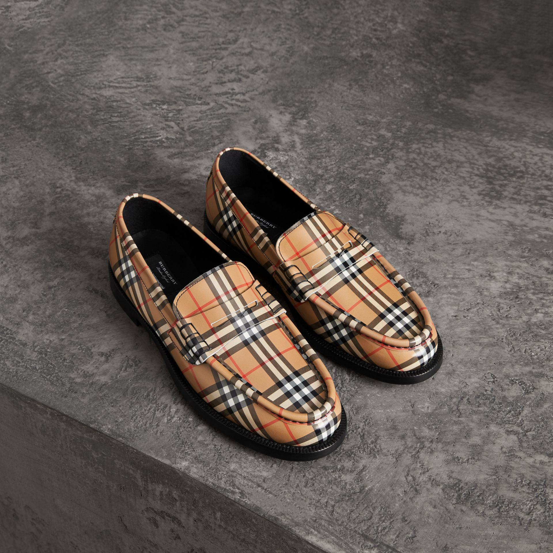 93575281fde Burberry Men s Moore Signature Check Penny Loafer In Yellow   Orange ...