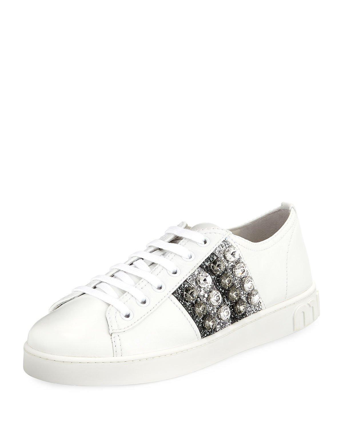 6bc09ba74bcc0 Miu Miu Crystal And Glitter-Embellished Leather Platform Sneakers In White