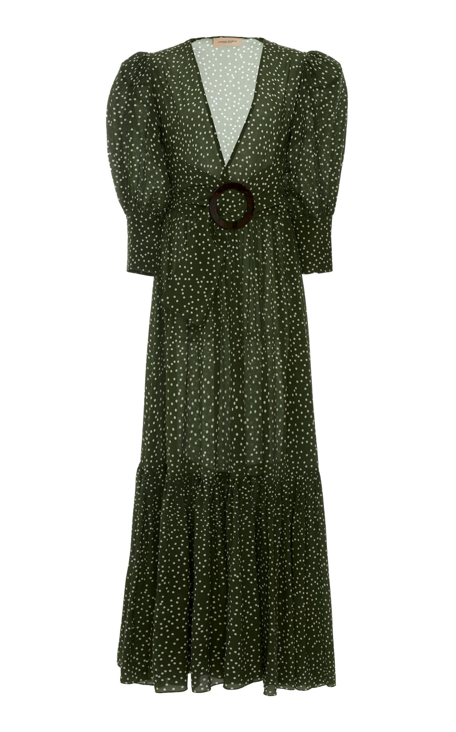 ecb7deaf73 Adriana Degreas Polka Dot Flared Silk Maxi Dress In Green | ModeSens