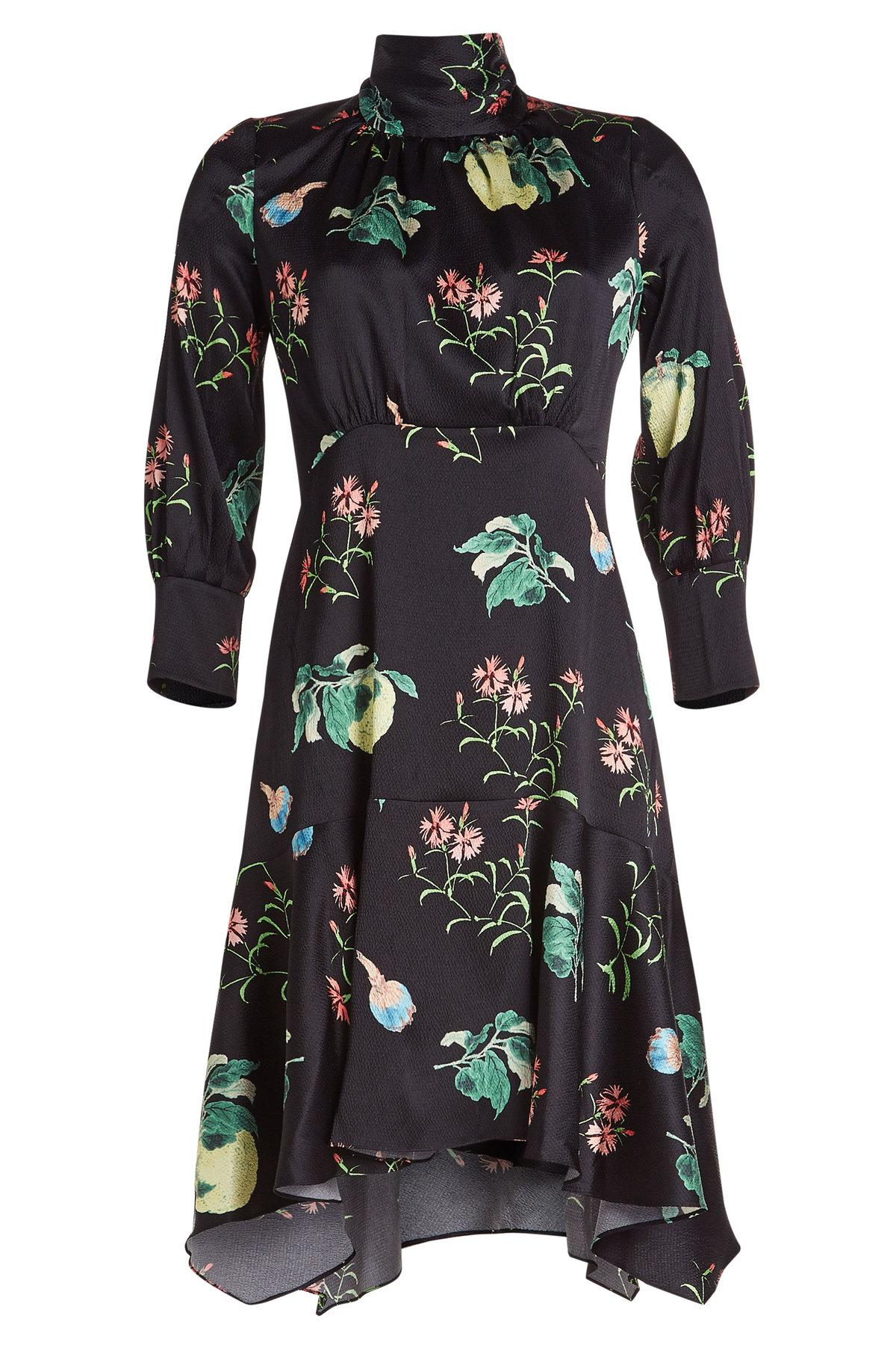 aa8b84bf197637 Peter Pilotto High-Neck 3 4-Sleeve Floral-Print Silk Dress In Black ...