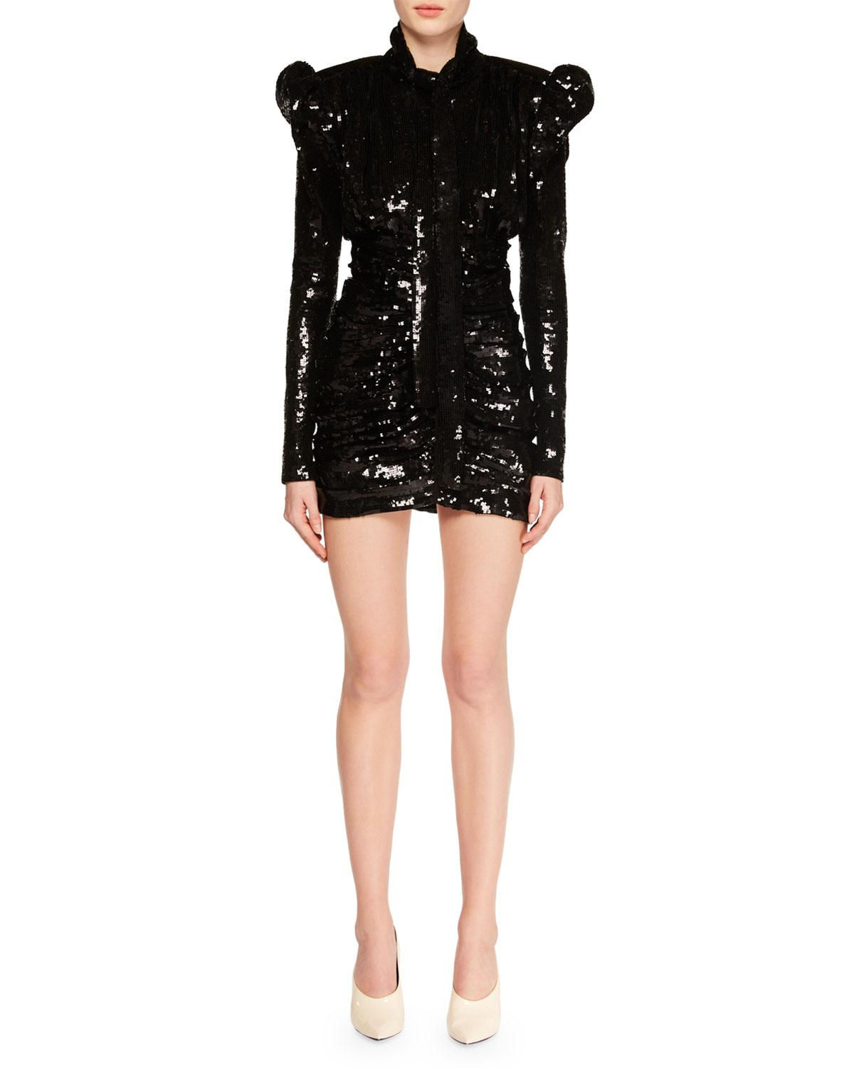 77e5ebc938 RUCHED SEQUIN MINI COCKTAIL DRESS