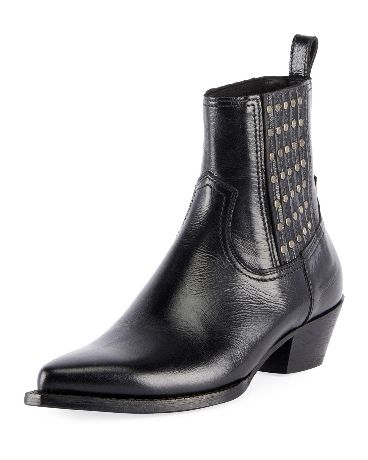 cc93dbbd449 Saint Laurent Lukas Studded Leather Booties In Black | ModeSens