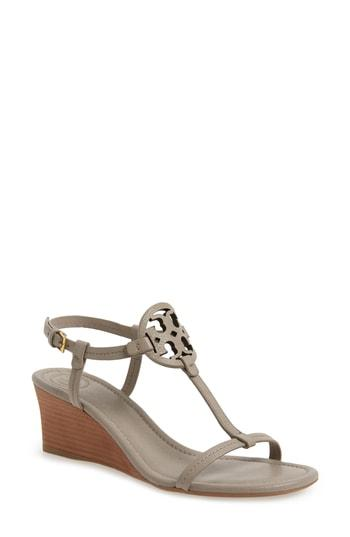f559d61d63bc9 Tory Burch Miller Sandal Wedges, Tumbled Leather In Gray   ModeSens