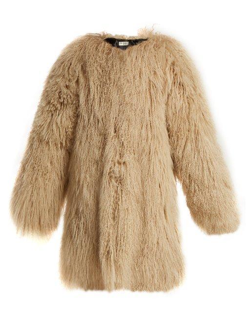 367d47776723 Saint Laurent Long Hair Mongolian Goat 3 4-Length Coat In Beige ...