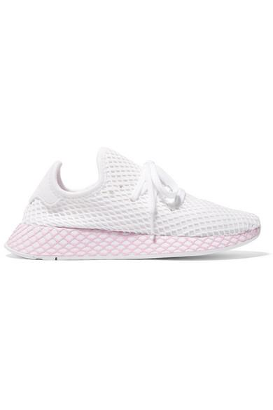064b43195f9 Adidas Originals Deerupt Runner Suede-Trimmed Mesh Sneakers In White ...