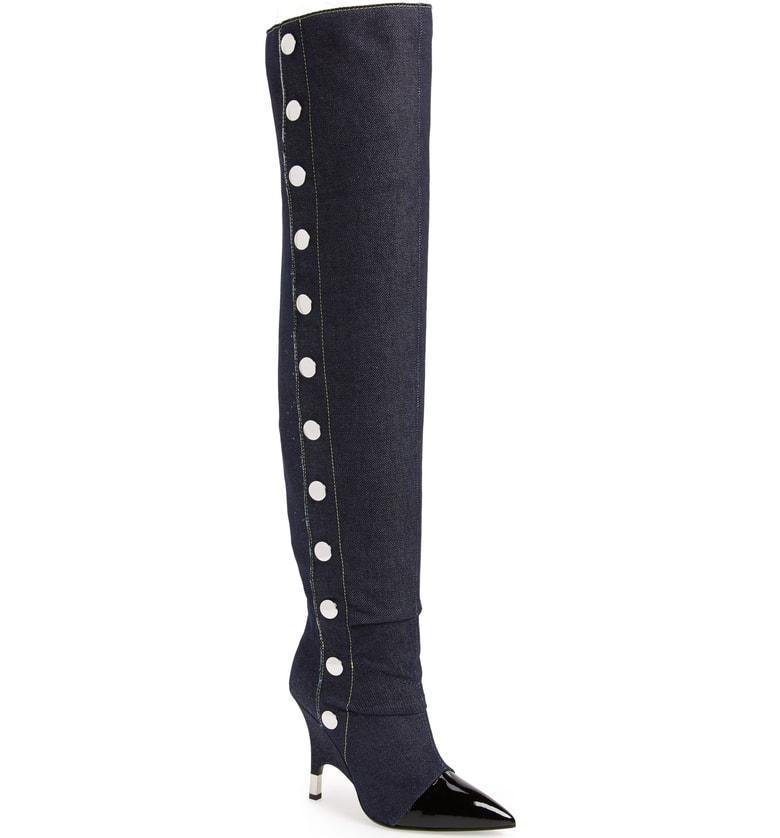 3fe85102e5aa6 Giuseppe Zanotti - Patent Leather And Denim Cuissard Boot Harper In Nero