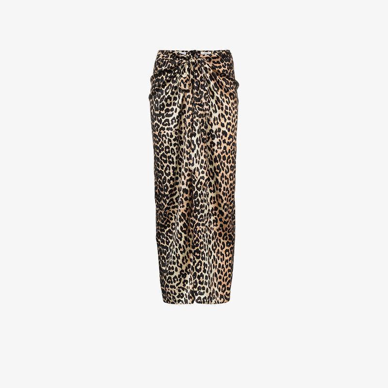 eeaed1821 Ganni Black And Brown Calla Leopard-Print Stretch-Silk Midi Skirt In Leopard  Print