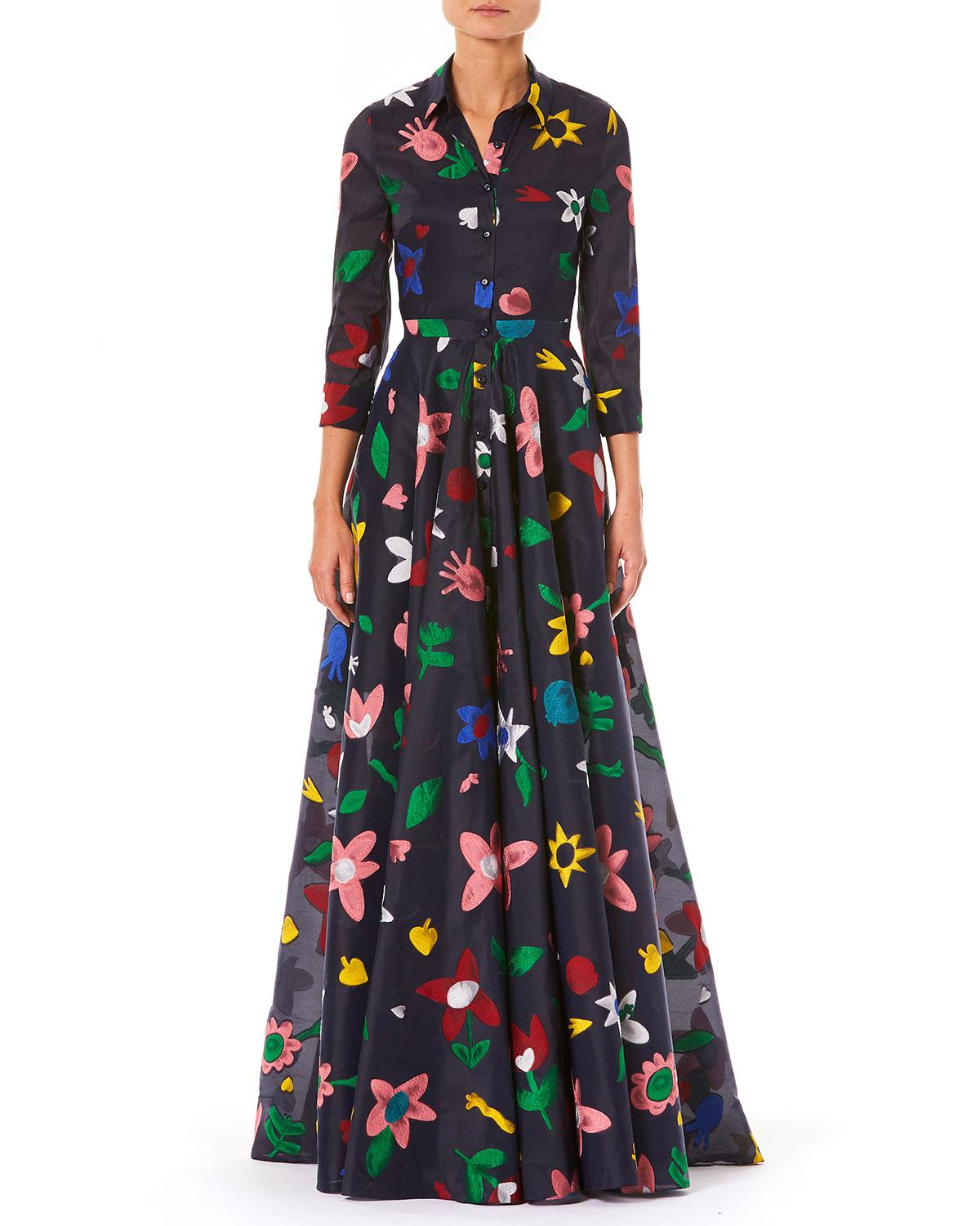 2b2400b6f6 Carolina Herrera 3/4-Sleeve Button-Front Floral-Embroidered Full Evening  Gown