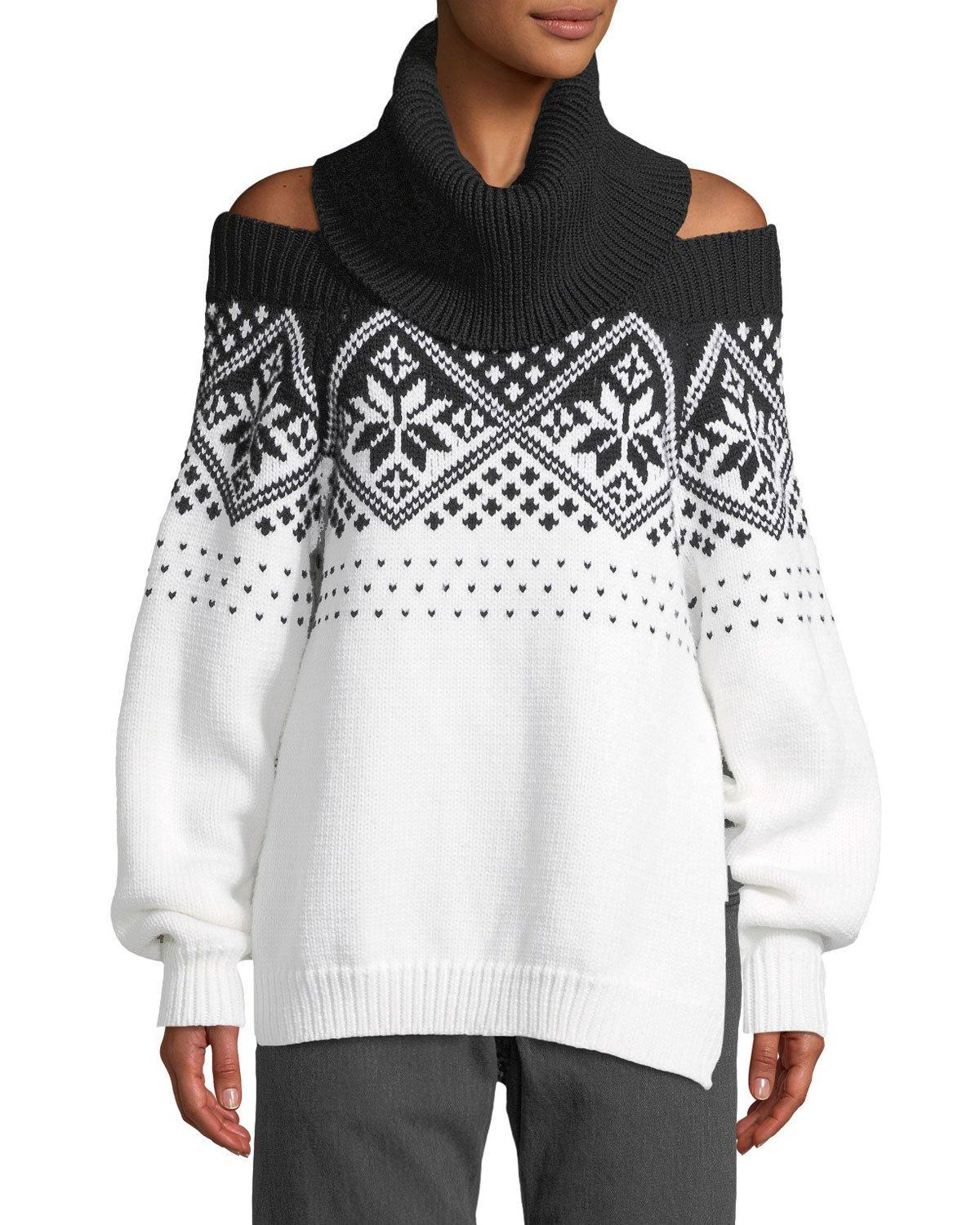 44e1b19f0c7bc9 Monse Turtleneck Off-The-Shoulder Intarsia Knit Wool Sweater In Black