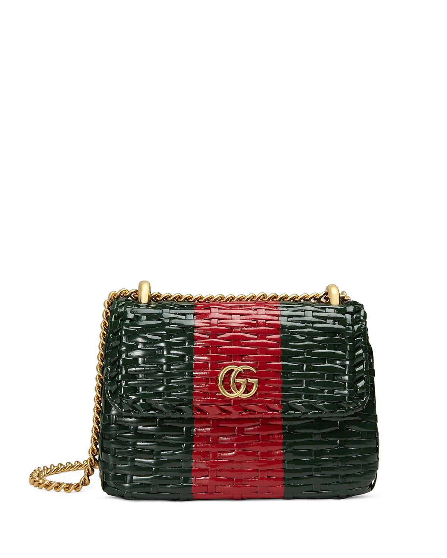 e451e801541 Gucci Small Linea Cestino Glazed Wicker Shoulder Bag In Green