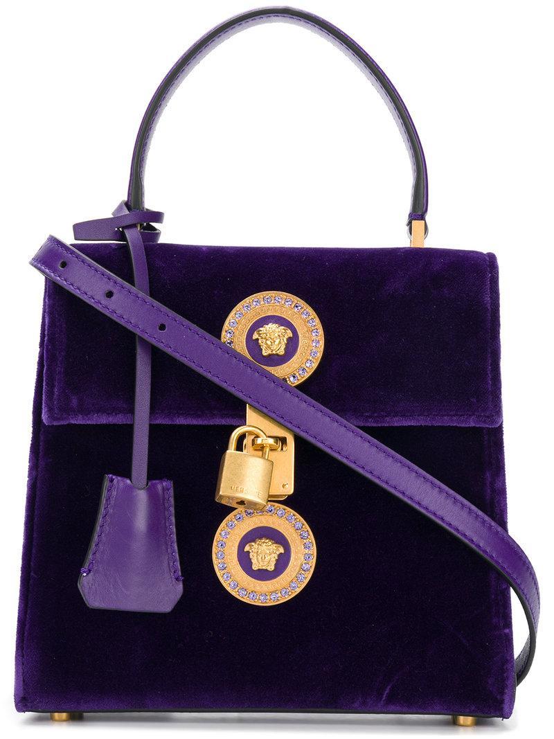 af42dc9e14 Versace Velvet Icon Handbag In Purple | ModeSens