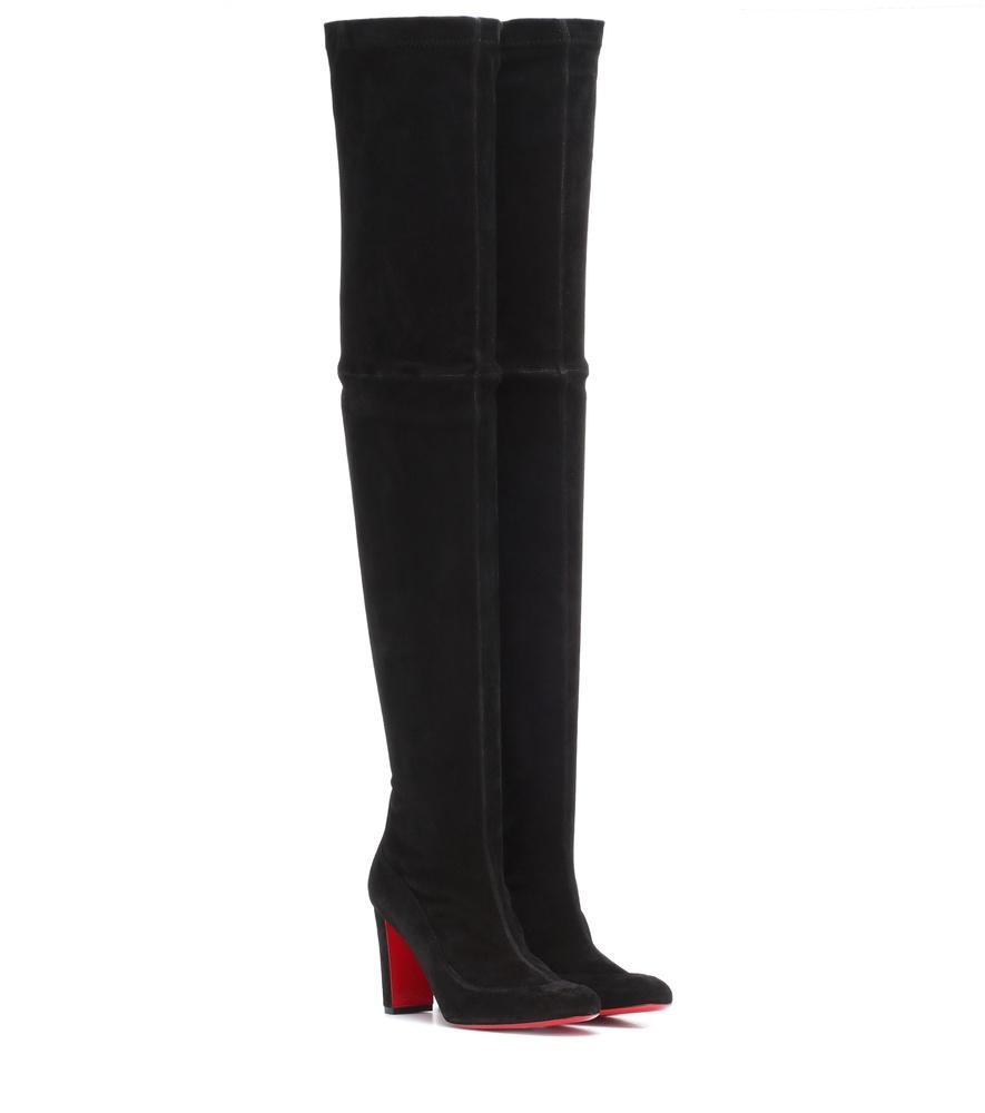 62e08755cc5 Christian Louboutin Kiss Me Gena 85 Suede Over-The-Knee Boots In Black