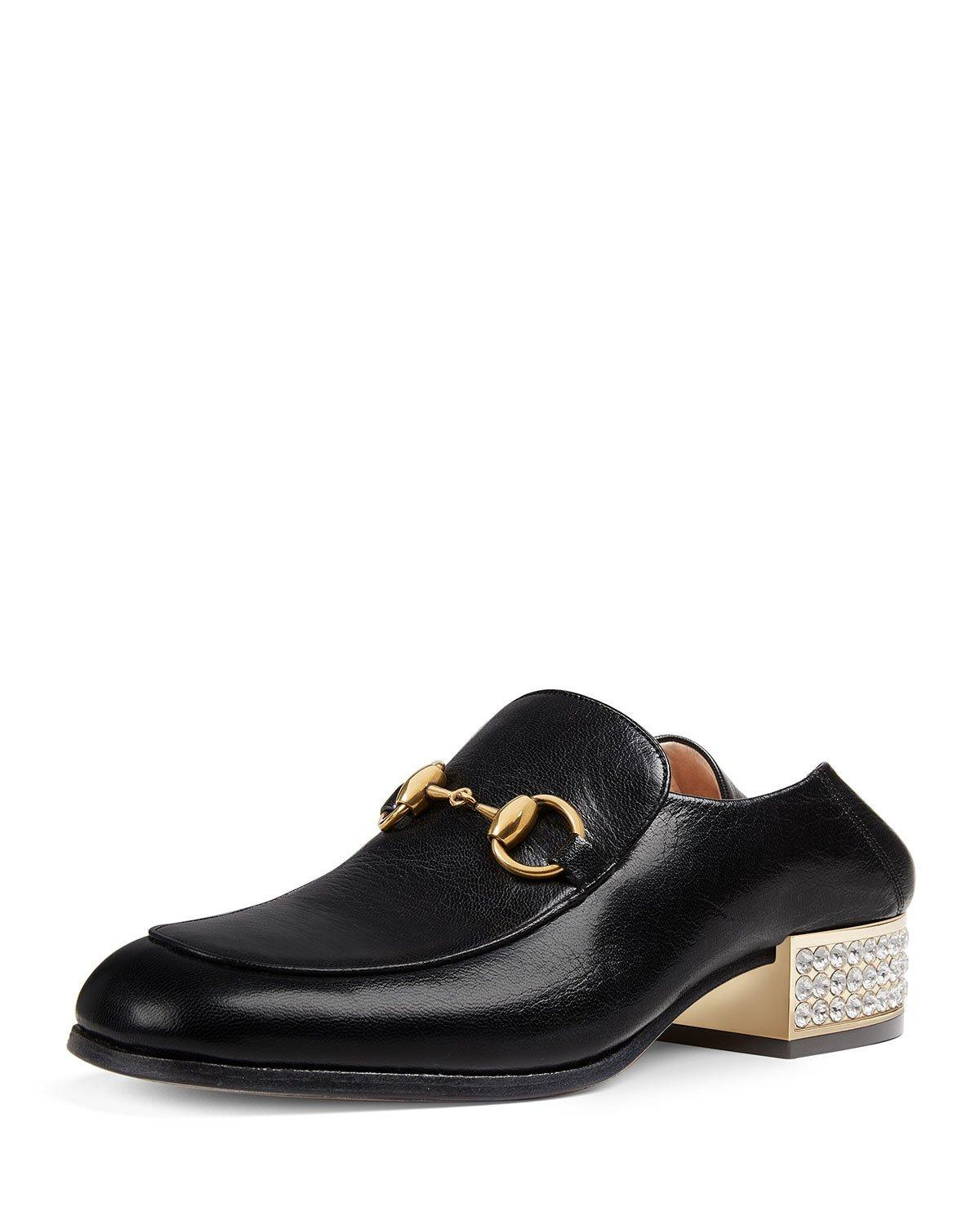 d6fd1b7a3 Gucci Horsebit Crystal Leather Loafers In Black   ModeSens