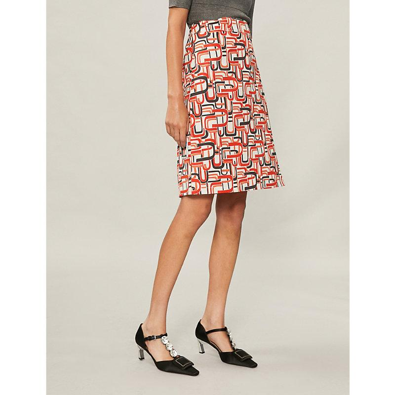 Prada Retro Print Wrap Skirt In Orange