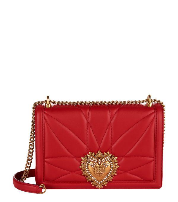 Dolce & Gabbana Medium Devotion Bag In MatelassÉ Nappa Red Color