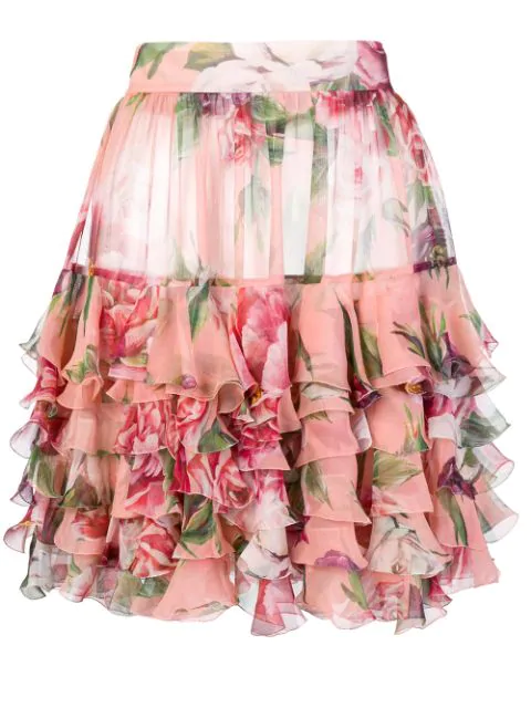 Dolce & Gabbana Pink Floral-print Silk Chiffon Skirt