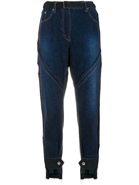 Sacai Belted Cropped Jeans In Blue
